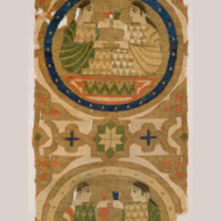 Stitch mounted and framed (with reverse viewing window) conservation treatment performed in 1981 by Lucy Commoner on 13th-century tapestry-woven Hispano-Moresque textile in the Cooper Hewitt collection: 1902-1-82