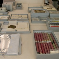 A sampling of the custom, modular storage systems that Lucy Commoner has designed for the preservation of textile objects in the collection of Cooper Hewitt, Smithsonian Design Museum