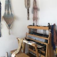 Carolina Jimenez's loom in her home studio, April 2021. Photo by Jessie Young.