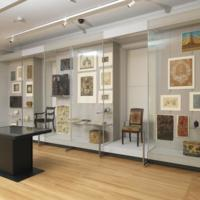 Installation view of Hewitt Sisters Collect exhibition, 2014, with new built-in exhibition cases for the collection, Cooper Hewitt, Smithsonian Design Museum