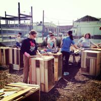 Volunteers work with Future Green to create repurposed Planters for 9th Street Wildflower Corridor, Brooklyn, New York, 2014.