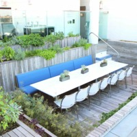 Dining space and Green Wall at Pool Farm, Manhattan, New York, 2012.