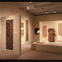 Installation view of Printed Textiles 1760-1860 in the Collection of the Cooper-Hewitt Museum, 1987, featuring pressure-mounted and flat textiles and a dressed mannequin, Cooper Hewitt, Smithsonian Design Museum